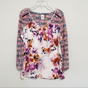 Anthropologie Printed 3/4 Sleeve Blouse Top Size M